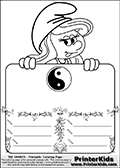 Coloring page with Smurfette (la schtroumpfette) holding an educational board with a Yin Yang symbol on it. The board has cute flower ornaments that split the board into a display area with the symbol and two areas with lines that can be written on. The lines has a pencil symbol to their left. The idea behind this educational kids activity page was to encourage kids to practice writing. The board has no text - just the symbol so it is for advanced practice! There is a version of the kids activity page with visible words here at PrinterKids too. Chec for that option here: Educational Smurf Pages with Words if your child hasnt tried them first or is unfamiliar with the majority of letters and their sounds. The  Smurf colouring sheet was intended for kids to print out for coloring or for online coloring on the PrinterKids website. The  Smurf activity page for kids is drawn and made available by Loke Hansen (http://www.LokeHansen.com) based on an image found via a google images search for the term SMURF.