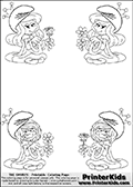 Coloring page with 4 female smurf flower queens, two Smurfette flower queens and two Vexy Smurf flower queens. This coloring page is one of 66 variations made with 4 Smurf flower queens. To view all 66 different colouring sheet variations click here: Smurfette and Vexy Smurf Flower Queen Coloring Pages. Smurfette and Vexy Smurf is drawn with a neutral flower in one illustration and a rose in the other. The Smurf Flower Queens are positioned in each corner of the colouring sheet. The Smurfette and Vexy Smurf group colouring sheet was intended for kids to print out for coloring or for online coloring on the PrinterKids website. The Smurfette and Vexy Smurf Flower Queen activity page for kids is drawn and made available by Loke Hansen (http://www.LokeHansen.com) based on images found via a google images search.