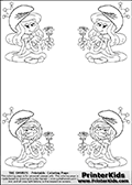 Coloring page with 4 female smurf flower queens, two Smurfette flower queens and two Vexy Smurf flower queens. This coloring page is variation 4 of 66 variations made with 4 Smurf flower queens. To view all 66 different colouring sheet variations click here: Smurfette and Vexy Smurf Flower Queen Coloring Pages. Smurfette and Vexy Smurf is drawn with a neutral flower in one illustration and a rose in the other. The Smurf Flower Queens are positioned in each corner of the colouring sheet. The Smurfette and Vexy Smurf group colouring sheet was intended for kids to print out for coloring or for online coloring on the PrinterKids website. The Smurfette and Vexy Smurf Flower Queen activity page for kids is drawn and made available by Loke Hansen (http://www.LokeHansen.com) based on images found via a google images search.