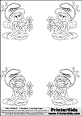 Coloring page with 4 female smurf flower queens, two Smurfette flower queens and two Vexy Smurf flower queens. This coloring page is variation 5 of 66 variations made with 4 Smurf flower queens. To view all 66 different colouring sheet variations click here: Smurfette and Vexy Smurf Flower Queen Coloring Pages. Smurfette and Vexy Smurf is drawn with a neutral flower in one illustration and a rose in the other. The Smurf Flower Queens are positioned in each corner of the colouring sheet. The Smurfette and Vexy Smurf group colouring sheet was intended for kids to print out for coloring or for online coloring on the PrinterKids website. The Smurfette and Vexy Smurf Flower Queen activity page for kids is drawn and made available by Loke Hansen (http://www.LokeHansen.com) based on images found via a google images search.