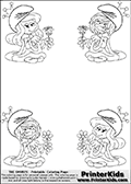 Coloring page with 4 female smurf flower queens, two Smurfette flower queens and two Vexy Smurf flower queens. This coloring page is variation 6 of 66 variations made with 4 Smurf flower queens. To view all 66 different colouring sheet variations click here: Smurfette and Vexy Smurf Flower Queen Coloring Pages. Smurfette and Vexy Smurf is drawn with a neutral flower in one illustration and a rose in the other. The Smurf Flower Queens are positioned in each corner of the colouring sheet. The Smurfette and Vexy Smurf group colouring sheet was intended for kids to print out for coloring or for online coloring on the PrinterKids website. The Smurfette and Vexy Smurf Flower Queen activity page for kids is drawn and made available by Loke Hansen (http://www.LokeHansen.com) based on images found via a google images search.