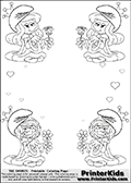 Coloring page with 4 female smurf flower queens, two Smurfette flower queens and two Vexy Smurf flower queens. This coloring page is variation 9 of 66 variations made with 4 Smurf flower queens. To view all 66 different colouring sheet variations click here: Smurfette and Vexy Smurf Flower Queen Coloring Pages. This variation of the Smurfette and Vexy Smurf coloring batch has small hearts in the background in addition to the four colorable queens. There are 6 different versions of this variation with the Smurf queens in different positions. Smurfette and Vexy Smurf is drawn with a neutral flower in one illustration and a rose in the other. The Smurf Flower Queens are positioned in each corner of the colouring sheet. The Smurfette and Vexy Smurf group colouring sheet was intended for kids to print out for coloring or for online coloring on the PrinterKids website. The Smurfette and Vexy Smurf Flower Queen activity page for kids is drawn and made available by Loke Hansen (http://www.LokeHansen.com) based on images found via a google images search.