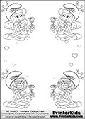 Coloring page with 4 female smurf flower queens, two Smurfette flower queens and two Vexy Smurf flower queens. This coloring page is variation 10 of 66 variations made with 4 Smurf flower queens. To view all 66 different colouring sheet variations click here: Smurfette and Vexy Smurf Flower Queen Coloring Pages. This variation of the Smurfette and Vexy Smurf coloring batch has small hearts in the background in addition to the four colorable queens. There are 6 different versions of this variation with the Smurf queens in different positions. Smurfette and Vexy Smurf is drawn with a neutral flower in one illustration and a rose in the other. The Smurf Flower Queens are positioned in each corner of the colouring sheet. The Smurfette and Vexy Smurf group colouring sheet was intended for kids to print out for coloring or for online coloring on the PrinterKids website. The Smurfette and Vexy Smurf Flower Queen activity page for kids is drawn and made available by Loke Hansen (http://www.LokeHansen.com) based on images found via a google images search.