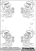 Coloring page with 4 female smurf flower queens, two Smurfette flower queens and two Vexy Smurf flower queens. This coloring page is variation 11 of 66 variations made with 4 Smurf flower queens. To view all 66 different colouring sheet variations click here: Smurfette and Vexy Smurf Flower Queen Coloring Pages. This variation of the Smurfette and Vexy Smurf coloring batch has small hearts in the background in addition to the four colorable queens. There are 6 different versions of this variation with the Smurf queens in different positions. Smurfette and Vexy Smurf is drawn with a neutral flower in one illustration and a rose in the other. The Smurf Flower Queens are positioned in each corner of the colouring sheet. The Smurfette and Vexy Smurf group colouring sheet was intended for kids to print out for coloring or for online coloring on the PrinterKids website. The Smurfette and Vexy Smurf Flower Queen activity page for kids is drawn and made available by Loke Hansen (http://www.LokeHansen.com) based on images found via a google images search.