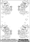 Coloring page with 4 female smurf flower queens, two Smurfette flower queens and two Vexy Smurf flower queens. This coloring page is variation 12 of 66 variations made with 4 Smurf flower queens. To view all 66 different colouring sheet variations click here: Smurfette and Vexy Smurf Flower Queen Coloring Pages. This variation of the Smurfette and Vexy Smurf coloring batch has small hearts in the background in addition to the four colorable queens. There are 6 different versions of this variation with the Smurf queens in different positions. Smurfette and Vexy Smurf is drawn with a neutral flower in one illustration and a rose in the other. The Smurf Flower Queens are positioned in each corner of the colouring sheet. The Smurfette and Vexy Smurf group colouring sheet was intended for kids to print out for coloring or for online coloring on the PrinterKids website. The Smurfette and Vexy Smurf Flower Queen activity page for kids is drawn and made available by Loke Hansen (http://www.LokeHansen.com) based on images found via a google images search.
