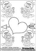 The Smurfs - Smurfette and Vexy Smurf Flower Queen - Cupid Arrow Heart and Small Hearts - Coloring Page 1