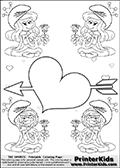 The Smurfs - Smurfette and Vexy Smurf Flower Queen - Cupid Arrow Heart and Small Hearts - Coloring Page 4
