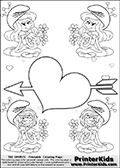 The Smurfs - Smurfette and Vexy Smurf Flower Queen - Cupid Arrow Heart and Small Hearts - Coloring Page 5