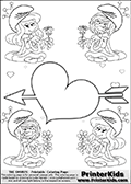 Coloring page with 4 female smurf flower queens, two Smurfette flower queens and two Vexy Smurf flower queens. This coloring page is variation 24 of 66 variations made with 4 Smurf flower queens. To view all 66 different colouring sheet variations click here: Smurfette and Vexy Smurf Flower Queen Coloring Pages. This variation of the Smurfette and Vexy Smurf colouring sheets has a single Cupid Arrow Heart at the center of the page that can be colored or used to write a romantic message. The sheet also has small hearts and the colorable smurf queens. There are 6 different versions of this variation with the Smurf queens in different positions. Smurfette and Vexy Smurf is drawn with a neutral flower in one illustration and a rose in the other. The Smurf Flower Queens are positioned in each corner of the colouring sheet. The Smurfette and Vexy Smurf group colouring sheet was intended for kids to print out for coloring or for online coloring on the PrinterKids website. The Smurfette and Vexy Smurf Flower Queen activity page for kids is drawn and made available by Loke Hansen (http://www.LokeHansen.com) based on images found via a google images search.