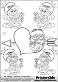 Coloring page with the Despicable Me Minion Dave and 4 female smurf flower queens, two Smurfette flower queens and two Vexy Smurf flower queens. This coloring page is variation 32 of 66 variations made with 4 Smurf flower queens. To view all 66 different colouring sheet variations click here: Smurfette and Vexy Smurf Flower Queen Coloring Pages. This variation of the Smurfette and Vexy Smurf colouring sheets has the Despicable Me Minion Dave, drawn in the middle of the page, in front of a Cupids Arrow Heart at the center of the page. The arrow heart can be colored or used to write a romantic text. The coloring page has small hearts and smurf queens too! There are 12 different versions of this variation with the Smurf queens in different positions. Smurfette and Vexy Smurf is drawn with a neutral flower in one illustration and a rose in the other. The Smurf Flower Queens are positioned in each corner of the colouring sheet. The Smurfette and Vexy Smurf group colouring sheet was intended for kids to print out for coloring or for online coloring on the PrinterKids website. The Smurfette and Vexy Smurf Flower Queen activity page for kids is drawn and made available by Loke Hansen (http://www.LokeHansen.com) based on images found via a google images search.