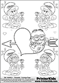 Coloring page with the Despicable Me Minion Dave and 4 female smurf flower queens, two Smurfette flower queens and two Vexy Smurf flower queens. This coloring page is variation 34 of 66 variations made with 4 Smurf flower queens. To view all 66 different colouring sheet variations click here: Smurfette and Vexy Smurf Flower Queen Coloring Pages. This variation of the Smurfette and Vexy Smurf colouring sheets has the Despicable Me Minion Dave, drawn in the middle of the page, in front of a Cupids Arrow Heart at the center of the page. The arrow heart can be colored or used to write a romantic text. The coloring page has small hearts and smurf queens too! There are 12 different versions of this variation with the Smurf queens in different positions. Smurfette and Vexy Smurf is drawn with a neutral flower in one illustration and a rose in the other. The Smurf Flower Queens are positioned in each corner of the colouring sheet. The Smurfette and Vexy Smurf group colouring sheet was intended for kids to print out for coloring or for online coloring on the PrinterKids website. The Smurfette and Vexy Smurf Flower Queen activity page for kids is drawn and made available by Loke Hansen (http://www.LokeHansen.com) based on images found via a google images search.