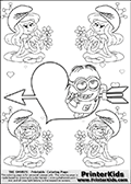 Coloring page with the Despicable Me Minion Dave and 4 female smurf flower queens, two Smurfette flower queens and two Vexy Smurf flower queens. This coloring page is variation 35 of 66 variations made with 4 Smurf flower queens. To view all 66 different colouring sheet variations click here: Smurfette and Vexy Smurf Flower Queen Coloring Pages. This variation of the Smurfette and Vexy Smurf colouring sheets has the Despicable Me Minion Dave, drawn in the middle of the page, in front of a Cupids Arrow Heart at the center of the page. The arrow heart can be colored or used to write a romantic text. The coloring page has small hearts and smurf queens too! There are 12 different versions of this variation with the Smurf queens in different positions. Smurfette and Vexy Smurf is drawn with a neutral flower in one illustration and a rose in the other. The Smurf Flower Queens are positioned in each corner of the colouring sheet. The Smurfette and Vexy Smurf group colouring sheet was intended for kids to print out for coloring or for online coloring on the PrinterKids website. The Smurfette and Vexy Smurf Flower Queen activity page for kids is drawn and made available by Loke Hansen (http://www.LokeHansen.com) based on images found via a google images search.