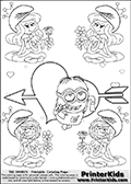 Coloring page with the Despicable Me Minion Dave and 4 female smurf flower queens, two Smurfette flower queens and two Vexy Smurf flower queens. This coloring page is variation 37 of 66 variations made with 4 Smurf flower queens. To view all 66 different colouring sheet variations click here: Smurfette and Vexy Smurf Flower Queen Coloring Pages. This variation of the Smurfette and Vexy Smurf colouring sheets has the Despicable Me Minion Dave, drawn in the middle of the page, in front of a Cupids Arrow Heart at the center of the page. The arrow heart can be colored or used to write a romantic text. The coloring page has small hearts and smurf queens too! There are 12 different versions of this variation with the Smurf queens in different positions. Smurfette and Vexy Smurf is drawn with a neutral flower in one illustration and a rose in the other. The Smurf Flower Queens are positioned in each corner of the colouring sheet. The Smurfette and Vexy Smurf group colouring sheet was intended for kids to print out for coloring or for online coloring on the PrinterKids website. The Smurfette and Vexy Smurf Flower Queen activity page for kids is drawn and made available by Loke Hansen (http://www.LokeHansen.com) based on images found via a google images search.