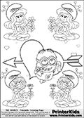 Coloring page with the Despicable Me Minion Dave and 4 female smurf flower queens, two Smurfette flower queens and two Vexy Smurf flower queens. This coloring page is variation 38 of 66 variations made with 4 Smurf flower queens. To view all 66 different colouring sheet variations click here: Smurfette and Vexy Smurf Flower Queen Coloring Pages. This variation of the Smurfette and Vexy Smurf colouring sheets has the Despicable Me Minion Dave, drawn in the middle of the page, in front of a Cupids Arrow Heart at the center of the page. The arrow heart can be colored or used to write a romantic text. The coloring page has small hearts and smurf queens too! There are 12 different versions of this variation with the Smurf queens in different positions. Smurfette and Vexy Smurf is drawn with a neutral flower in one illustration and a rose in the other. The Smurf Flower Queens are positioned in each corner of the colouring sheet. The Smurfette and Vexy Smurf group colouring sheet was intended for kids to print out for coloring or for online coloring on the PrinterKids website. The Smurfette and Vexy Smurf Flower Queen activity page for kids is drawn and made available by Loke Hansen (http://www.LokeHansen.com) based on images found via a google images search.
