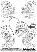 Coloring page with the Despicable Me Minion Dave and 4 female smurf flower queens, two Smurfette flower queens and two Vexy Smurf flower queens. This coloring page is variation 39 of 66 variations made with 4 Smurf flower queens. To view all 66 different colouring sheet variations click here: Smurfette and Vexy Smurf Flower Queen Coloring Pages. This variation of the Smurfette and Vexy Smurf colouring sheets has the Despicable Me Minion Dave, drawn in the middle of the page, in front of a Cupids Arrow Heart at the center of the page. The arrow heart can be colored or used to write a romantic text. The coloring page has small hearts and smurf queens too! There are 12 different versions of this variation with the Smurf queens in different positions. Smurfette and Vexy Smurf is drawn with a neutral flower in one illustration and a rose in the other. The Smurf Flower Queens are positioned in each corner of the colouring sheet. The Smurfette and Vexy Smurf group colouring sheet was intended for kids to print out for coloring or for online coloring on the PrinterKids website. The Smurfette and Vexy Smurf Flower Queen activity page for kids is drawn and made available by Loke Hansen (http://www.LokeHansen.com) based on images found via a google images search.