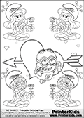 Coloring page with the Despicable Me Minion Dave and 4 female smurf flower queens, two Smurfette flower queens and two Vexy Smurf flower queens. This coloring page is variation 40 of 66 variations made with 4 Smurf flower queens. To view all 66 different colouring sheet variations click here: Smurfette and Vexy Smurf Flower Queen Coloring Pages. This variation of the Smurfette and Vexy Smurf colouring sheets has the Despicable Me Minion Dave, drawn in the middle of the page, in front of a Cupids Arrow Heart at the center of the page. The arrow heart can be colored or used to write a romantic text. The coloring page has small hearts and smurf queens too! There are 12 different versions of this variation with the Smurf queens in different positions. Smurfette and Vexy Smurf is drawn with a neutral flower in one illustration and a rose in the other. The Smurf Flower Queens are positioned in each corner of the colouring sheet. The Smurfette and Vexy Smurf group colouring sheet was intended for kids to print out for coloring or for online coloring on the PrinterKids website. The Smurfette and Vexy Smurf Flower Queen activity page for kids is drawn and made available by Loke Hansen (http://www.LokeHansen.com) based on images found via a google images search.
