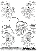 Coloring page with the Despicable Me Minion Dave and 4 female smurf flower queens, two Smurfette flower queens and two Vexy Smurf flower queens. This coloring page is variation 41 of 66 variations made with 4 Smurf flower queens. To view all 66 different colouring sheet variations click here: Smurfette and Vexy Smurf Flower Queen Coloring Pages. This variation of the Smurfette and Vexy Smurf colouring sheets has the Despicable Me Minion Dave, drawn in the middle of the page, in front of a Cupids Arrow Heart at the center of the page. The arrow heart can be colored or used to write a romantic text. The coloring page has small hearts and smurf queens too! There are 12 different versions of this variation with the Smurf queens in different positions. Smurfette and Vexy Smurf is drawn with a neutral flower in one illustration and a rose in the other. The Smurf Flower Queens are positioned in each corner of the colouring sheet. The Smurfette and Vexy Smurf group colouring sheet was intended for kids to print out for coloring or for online coloring on the PrinterKids website. The Smurfette and Vexy Smurf Flower Queen activity page for kids is drawn and made available by Loke Hansen (http://www.LokeHansen.com) based on images found via a google images search.