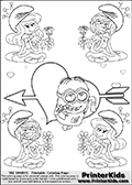 The Smurfs - Despicable Me Minion Dave plus Smurfette and Vexy Smurf Flower Queen - Cupids Arrow Heart and Small Hearts - Coloring Page 12