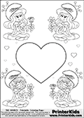 Coloring page with 4 female smurf flower queens, two Smurfette flower queens and two Vexy Smurf flower queens. This coloring page is variation 13 of 66 variations made with 4 Smurf flower queens. To view all 66 different colouring sheet variations click here: Smurfette and Vexy Smurf Flower Queen Coloring Pages. This variation of the Smurfette and Vexy Smurf colouring sheets has a single large heart at the center of the page that can be colored or used to write a romantic message. The printable pages also have small hearts in the background and the four colorable queens. There are 6 different versions of this variation with the Smurf queens in different positions. Smurfette and Vexy Smurf is drawn with a neutral flower in one illustration and a rose in the other. The Smurf Flower Queens are positioned in each corner of the colouring sheet. The Smurfette and Vexy Smurf group colouring sheet was intended for kids to print out for coloring or for online coloring on the PrinterKids website. The Smurfette and Vexy Smurf Flower Queen activity page for kids is drawn and made available by Loke Hansen (http://www.LokeHansen.com) based on images found via a google images search.