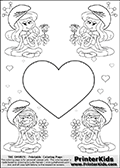 The Smurfs - Smurfette and Vexy Smurf Flower Queen - Large Heart and Small Hearts - Coloring Page 3