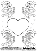 Coloring page with 4 female smurf flower queens, two Smurfette flower queens and two Vexy Smurf flower queens. This coloring page is variation 16 of 66 variations made with 4 Smurf flower queens. To view all 66 different colouring sheet variations click here: Smurfette and Vexy Smurf Flower Queen Coloring Pages. This variation of the Smurfette and Vexy Smurf colouring sheets has a single large heart at the center of the page that can be colored or used to write a romantic message. The printable pages also have small hearts in the background and the four colorable queens. There are 6 different versions of this variation with the Smurf queens in different positions. Smurfette and Vexy Smurf is drawn with a neutral flower in one illustration and a rose in the other. The Smurf Flower Queens are positioned in each corner of the colouring sheet. The Smurfette and Vexy Smurf group colouring sheet was intended for kids to print out for coloring or for online coloring on the PrinterKids website. The Smurfette and Vexy Smurf Flower Queen activity page for kids is drawn and made available by Loke Hansen (http://www.LokeHansen.com) based on images found via a google images search.