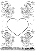 Coloring page with 4 female smurf flower queens, two Smurfette flower queens and two Vexy Smurf flower queens. This coloring page is variation 17 of 66 variations made with 4 Smurf flower queens. To view all 66 different colouring sheet variations click here: Smurfette and Vexy Smurf Flower Queen Coloring Pages. This variation of the Smurfette and Vexy Smurf colouring sheets has a single large heart at the center of the page that can be colored or used to write a romantic message. The printable pages also have small hearts in the background and the four colorable queens. There are 6 different versions of this variation with the Smurf queens in different positions. Smurfette and Vexy Smurf is drawn with a neutral flower in one illustration and a rose in the other. The Smurf Flower Queens are positioned in each corner of the colouring sheet. The Smurfette and Vexy Smurf group colouring sheet was intended for kids to print out for coloring or for online coloring on the PrinterKids website. The Smurfette and Vexy Smurf Flower Queen activity page for kids is drawn and made available by Loke Hansen (http://www.LokeHansen.com) based on images found via a google images search.