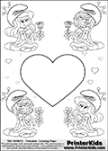 Coloring page with 4 female smurf flower queens, two Smurfette flower queens and two Vexy Smurf flower queens. This coloring page is variation 18 of 66 variations made with 4 Smurf flower queens. To view all 66 different colouring sheet variations click here: Smurfette and Vexy Smurf Flower Queen Coloring Pages. This variation of the Smurfette and Vexy Smurf colouring sheets has a single large heart at the center of the page that can be colored or used to write a romantic message. The printable pages also have small hearts in the background and the four colorable queens. There are 6 different versions of this variation with the Smurf queens in different positions. Smurfette and Vexy Smurf is drawn with a neutral flower in one illustration and a rose in the other. The Smurf Flower Queens are positioned in each corner of the colouring sheet. The Smurfette and Vexy Smurf group colouring sheet was intended for kids to print out for coloring or for online coloring on the PrinterKids website. The Smurfette and Vexy Smurf Flower Queen activity page for kids is drawn and made available by Loke Hansen (http://www.LokeHansen.com) based on images found via a google images search.
