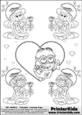 The Smurfs - Despicable Me Minion Dave plus Smurfette and Vexy Smurf Flower Queen - Large Heart and Small Hearts - Coloring Page 4