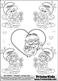 Coloring page with the Despicable Me Minion Dave and 4 female smurf flower queens, two Smurfette flower queens and two Vexy Smurf flower queens. This coloring page is variation 29 of 66 variations made with 4 Smurf flower queens. To view all 66 different colouring sheet variations click here: Smurfette and Vexy Smurf Flower Queen Coloring Pages. This variation of the Smurfette and Vexy Smurf colouring sheets has Dave, one of the many awesome minions from the Despicable Me movies drawn in the middle of the page, in front of a single large Heart at the center of the page. The large heart can be colored or used to write a romantic message. The sheet also has small hearts and the colorable smurf queens. There are 6 different versions of this variation with the Smurf queens in different positions. Smurfette and Vexy Smurf is drawn with a neutral flower in one illustration and a rose in the other. The Smurf Flower Queens are positioned in each corner of the colouring sheet. The Smurfette and Vexy Smurf group colouring sheet was intended for kids to print out for coloring or for online coloring on the PrinterKids website. The Smurfette and Vexy Smurf Flower Queen activity page for kids is drawn and made available by Loke Hansen (http://www.LokeHansen.com) based on images found via a google images search.