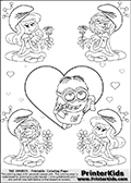 Coloring page with the Despicable Me Minion Dave and 4 female smurf flower queens, two Smurfette flower queens and two Vexy Smurf flower queens. This coloring page is variation 30 of 66 variations made with 4 Smurf flower queens. To view all 66 different colouring sheet variations click here: Smurfette and Vexy Smurf Flower Queen Coloring Pages. This variation of the Smurfette and Vexy Smurf colouring sheets has Dave, one of the many awesome minions from the Despicable Me movies drawn in the middle of the page, in front of a single large Heart at the center of the page. The large heart can be colored or used to write a romantic message. The sheet also has small hearts and the colorable smurf queens. There are 6 different versions of this variation with the Smurf queens in different positions. Smurfette and Vexy Smurf is drawn with a neutral flower in one illustration and a rose in the other. The Smurf Flower Queens are positioned in each corner of the colouring sheet. The Smurfette and Vexy Smurf group colouring sheet was intended for kids to print out for coloring or for online coloring on the PrinterKids website. The Smurfette and Vexy Smurf Flower Queen activity page for kids is drawn and made available by Loke Hansen (http://www.LokeHansen.com) based on images found via a google images search.