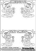 Coloring page with 4 female smurf flower queens, two Smurfette flower queens and two Vexy Smurf flower queens. This coloring page is variation 44 of 66 variations made with 4 Smurf flower queens. This Smurf Queen variation has colorable names, SMURFETTE and LEXY SMURF is written with black border letters with good room for coloring inside! To view all 66 different colouring sheet variations click here: Smurfette and Vexy Smurf Flower Queen Coloring Pages. Smurfette and Vexy Smurf is drawn with a neutral flower in one illustration and a rose in the other. The Smurf Flower Queens are positioned in each corner of the colouring sheet. The Smurfette and Vexy Smurf group colouring sheet was intended for kids to print out for coloring or for online coloring on the PrinterKids website. The Smurfette and Vexy Smurf Flower Queen activity page for kids is drawn and made available by Loke Hansen (http://www.LokeHansen.com) based on images found via a google images search.