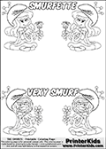 Coloring page with 4 female smurf flower queens, two Smurfette flower queens and two Vexy Smurf flower queens. This coloring page is variation 45 of 66 variations made with 4 Smurf flower queens. This Smurf Queen variation has colorable names, SMURFETTE and LEXY SMURF is written with black border letters with good room for coloring inside! To view all 66 different colouring sheet variations click here: Smurfette and Vexy Smurf Flower Queen Coloring Pages. Smurfette and Vexy Smurf is drawn with a neutral flower in one illustration and a rose in the other. The Smurf Flower Queens are positioned in each corner of the colouring sheet. The Smurfette and Vexy Smurf group colouring sheet was intended for kids to print out for coloring or for online coloring on the PrinterKids website. The Smurfette and Vexy Smurf Flower Queen activity page for kids is drawn and made available by Loke Hansen (http://www.LokeHansen.com) based on images found via a google images search.