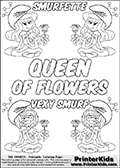 Coloring page with 4 female smurf flower queens, two Smurfette flower queens and two Vexy Smurf flower queens. This coloring page is variation 64 of 66 variations made with 4 Smurf flower queens. This Smurf Queen variation has colorable names, SMURFETTE and LEXY SMURF is written with black border letters with good room for coloring inside! The kids colouring printable also has QUEEN OF FLOWERS written in the middle of the page for coloring. To view all 66 different colouring sheet variations click here: Smurfette and Vexy Smurf Flower Queen Coloring Pages. Smurfette and Vexy Smurf is drawn with a neutral flower in one illustration and a rose in the other. The Smurf Flower Queens are positioned in each corner of the colouring sheet. The Smurfette and Vexy Smurf group colouring sheet was intended for kids to print out for coloring or for online coloring on the PrinterKids website. The Smurfette and Vexy Smurf Flower Queen activity page for kids is drawn and made available by Loke Hansen (http://www.LokeHansen.com) based on images found via a google images search.