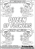Coloring page with 4 female smurf flower queens, two Smurfette flower queens and two Vexy Smurf flower queens. This coloring page is variation 65 of 66 variations made with 4 Smurf flower queens. This Smurf Queen variation has colorable names, SMURFETTE and LEXY SMURF is written with black border letters with good room for coloring inside! The kids colouring printable also has QUEEN OF FLOWERS written in the middle of the page for coloring. To view all 66 different colouring sheet variations click here: Smurfette and Vexy Smurf Flower Queen Coloring Pages. Smurfette and Vexy Smurf is drawn with a neutral flower in one illustration and a rose in the other. The Smurf Flower Queens are positioned in each corner of the colouring sheet. The Smurfette and Vexy Smurf group colouring sheet was intended for kids to print out for coloring or for online coloring on the PrinterKids website. The Smurfette and Vexy Smurf Flower Queen activity page for kids is drawn and made available by Loke Hansen (http://www.LokeHansen.com) based on images found via a google images search.