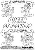Coloring page with 4 female smurf flower queens, two Smurfette flower queens and two Vexy Smurf flower queens. This coloring page is variation 66 of 66 variations made with 4 Smurf flower queens. This Smurf Queen variation has colorable names, SMURFETTE and LEXY SMURF is written with black border letters with good room for coloring inside! The kids colouring printable also has QUEEN OF FLOWERS written in the middle of the page for coloring. To view all 66 different colouring sheet variations click here: Smurfette and Vexy Smurf Flower Queen Coloring Pages. Smurfette and Vexy Smurf is drawn with a neutral flower in one illustration and a rose in the other. The Smurf Flower Queens are positioned in each corner of the colouring sheet. The Smurfette and Vexy Smurf group colouring sheet was intended for kids to print out for coloring or for online coloring on the PrinterKids website. The Smurfette and Vexy Smurf Flower Queen activity page for kids is drawn and made available by Loke Hansen (http://www.LokeHansen.com) based on images found via a google images search.