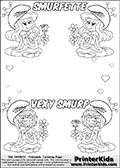 The Smurfs - Smurfette and Vexy Smurf Flower Queen - Colorable Names and Small Hearts - Coloring Page 1