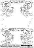 The Smurfs - Smurfette and Vexy Smurf Flower Queen - Colorable Names and Small Hearts - Coloring Page 6