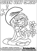 The Smurfs - Vexy Smurf - Queen with a Flower - Coloring Page 1