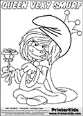 The Smurfs - Vexy Smurf - Queen with a Rose - Coloring Page 1