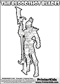 Warhammer - 40k - Alien - Dark Eldar - Hellion (The Bloodshot Blades) - Coloring Page 1