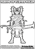 Warhammer - 40k - Alien - Dark Eldar - Incubus (Shrine of Cursed Night) - Coloring Page 1