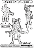 Warhammer - 40k - Alien - Dark Eldar - Kabalite, Hellion and Incubus - Coloring Page 1