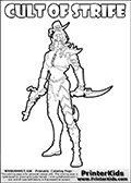 Warhammer - 40k - Alien - Dark Eldar - WYCH (Cult of Strife) - Coloring Page 1
