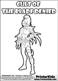 Warhammer - 40k - Alien - Dark Eldar - WYCH (Cult of the Blade Denied) - Coloring Page 1