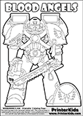 Warhammer - 40k - Imperium - Space Marine - Blood Angels - Coloring Page 1