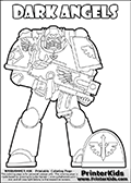 Warhammer - 40k - Imperium - Space Marine - Dark Angels - Coloring Page 1