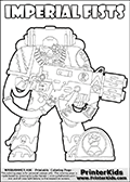 Warhammer - 40k - Imperium - Space Marine - Imperial Fists - Coloring Page 1