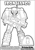 Warhammer - 40k - Imperium - Space Marine - Iron Hands - Coloring Page 1