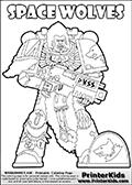 Warhammer - 40k - Imperium - Space Marine - Space Wolves - Coloring Page 1