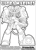 Warhammer - 40k - Imperium - Space Marine - Ultramarines - Coloring Page 1